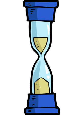 Cartoon doodle hourglass on a white background vector illustration.