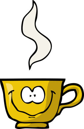 Cartoon doodle merry cup of coffee on a white background vector illustration.