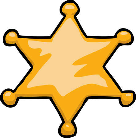 Cartoon doodle star sheriff on a white background vector illustration.