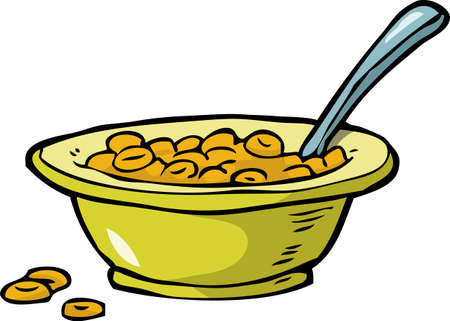 Plate of cereal on a white background vector illustration