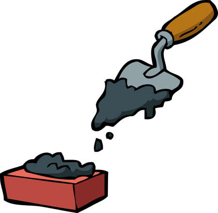 Doodle trowel and brick on a white background vector illustration.