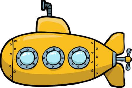 Krabbel gele onderzeeër op een witte vectorillustratie als achtergrond.