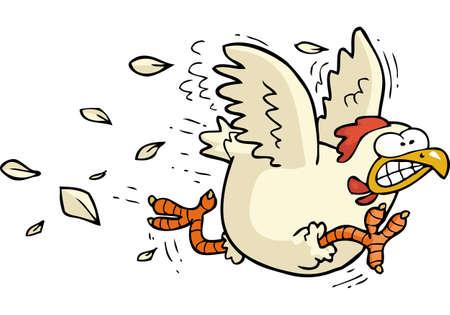 白い背景ベクトルのイラストにチキンを実行する漫画の落書き