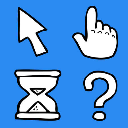 Cartoon doodle cursors on a blue background vector illustration  イラスト・ベクター素材
