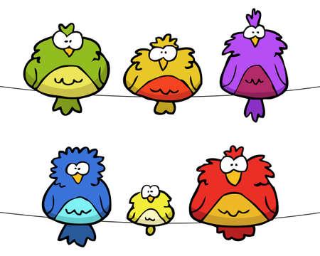 Cartoon doodle set of birds on a white background vector illustration