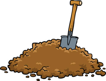 Shovel in a pile of earth on a white background vector illustration Çizim