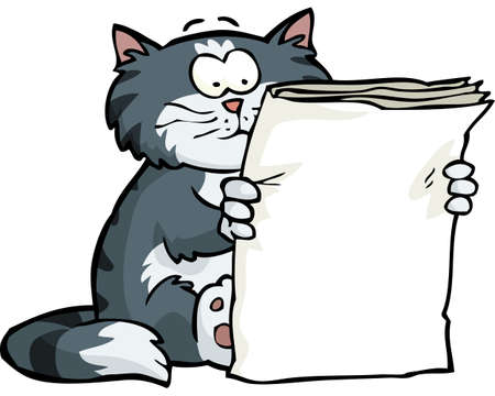 The cat is reading the newspaper on a white background vector illustration