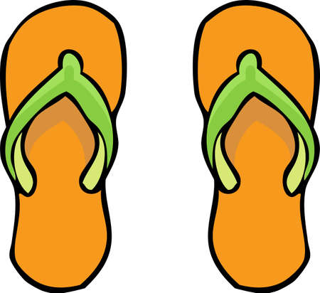Doodle flip flops on a white background. Stock Illustratie