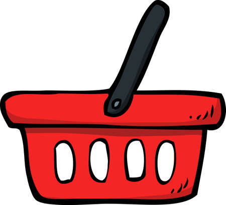 Doodle shop basket on a white background vector illustration.