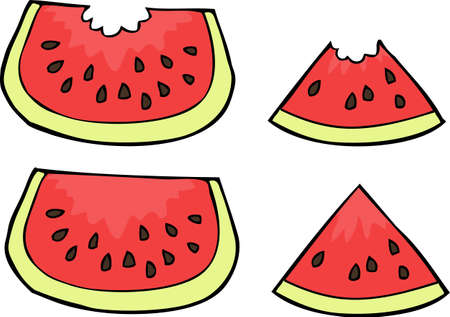 Doodle watermelon slices on a white background vector illustration. Ilustração