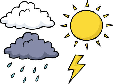 Doodle weather icon set on a white background vector illustration.