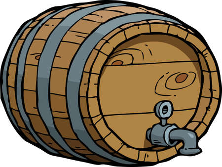 Doodle wooden wine barrel on a white background vector illustration.