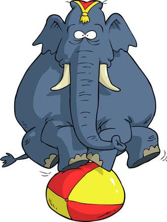 Elefante de circo en la ilustración de vector de bola