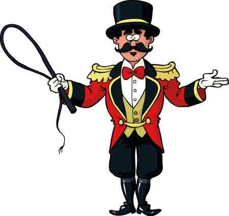 Zirkusringmeister auf einer weißen Hintergrundvektorillustration