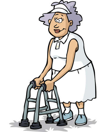 Grandmother on crutches on a white background vector illustration