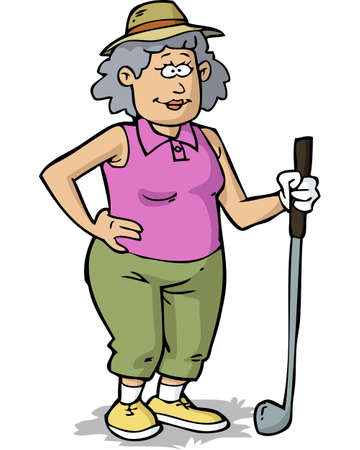 Retired woman plays golf on a white background vector illustration Stok Fotoğraf - 133128997