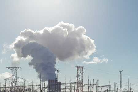npp: Cooling towers of NPP or Nuclear Power Plant with thick smoke