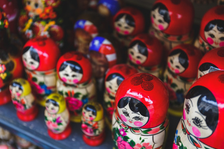 Tradotional Russian Matryoshka, russian nesting doll, selective focus Stock Photo