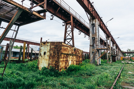 Old industrial zone landscape, abandoned factory, Post apocalypse view