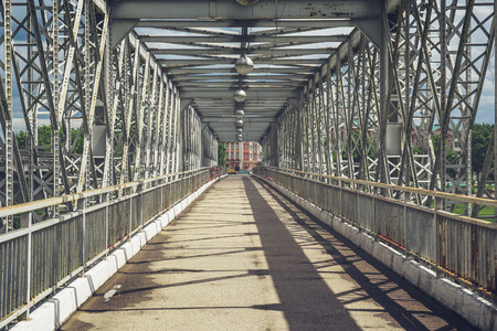 Metal bridge, urban scene, perspective