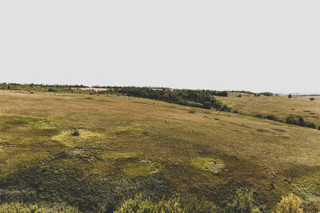 introversion: Green hills, retro vintage toned filter, hipster introversion loneliness landscape concept Stock Photo