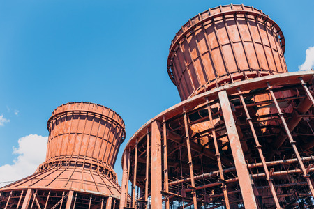 abandoned factory: Two demolished abandoned cooling towers