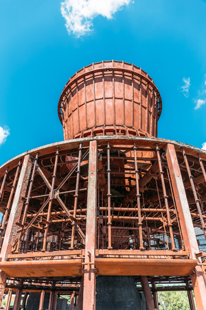 Destroyed an abandoned cooling tower, vertical image