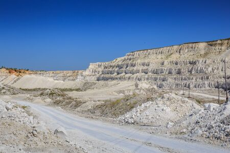 mine site: View to a limestone quarry in Russia, sedimental white rock