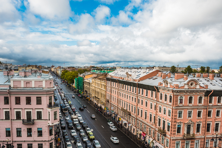 Saint Petersburg, Panoramic view to Nevsky Prospect from roof top, downtown, old town of St.Petersburg, Russia