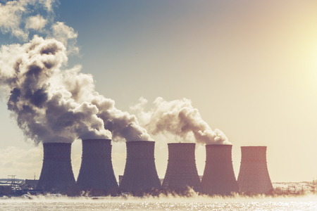 Cooling towers of Nuclear Power Plant or NPP in Novovoronezh, radioactive energy reactor Stock Photo