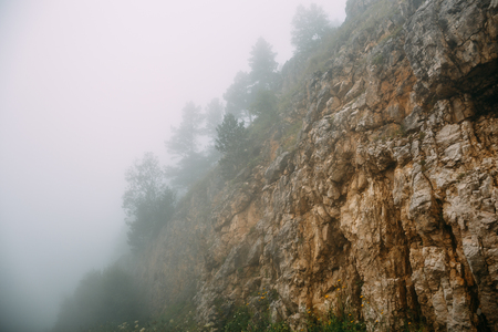 Hipster landscape, mountains in low lying clouds or fog, mist, haze, yellow rocks with trees in foggy morning, toned