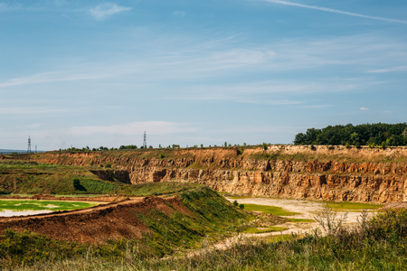sand quarry: limestone mining in a quarry, industrial landscape