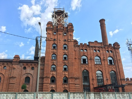 Old red brick building of malting plant at Maikop brewery, beer factory