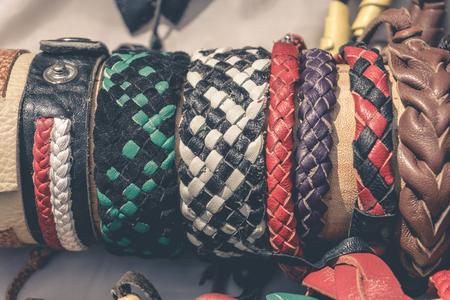 Handmade braided leather bracelets, toned