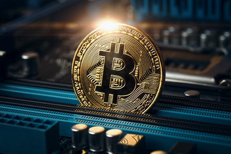 Gouden bitcoin-muntstuk met cryptocurrency. Conceptuele afbeelding voor crypto valuta, afgezwakt