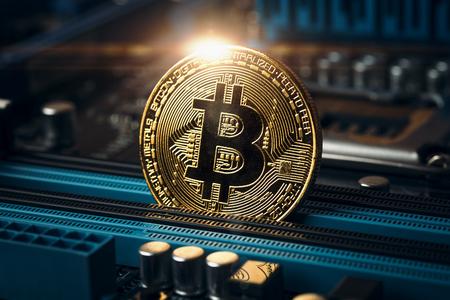 Moneta bitcoin dorata criptovaluta. Immagine concettuale per valuta criptata, tonica Archivio Fotografico - 87978293