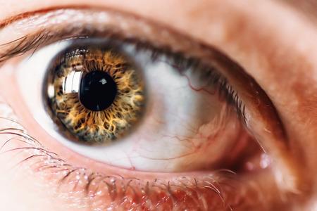 Human eye macro, selective focus on eyeball, fearful or surprised glance concept Stock Photo
