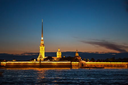 Peter and Paul Fortress in St. Petersburg, located on the Hare Island at night Stock Photo