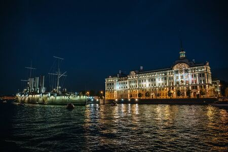 Linear cruiser Aurora or Avrora at night, Russia, St. Petersburg
