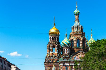 Church of the Saviour on Spilled Blood, St. Petersburg, Russia, copy space at blue sky Stock Photo