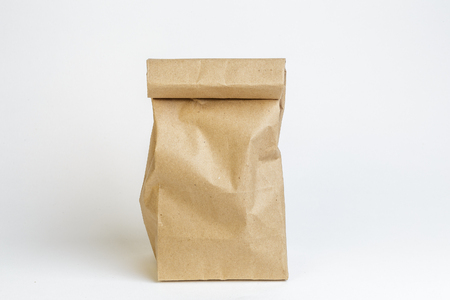Craft paper bag on white background, not isolated. Packaging mockup Reklamní fotografie