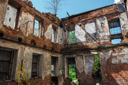 Debris of a building, ruined house, can be used as consequences of war, earthquake, hurricane or other natural disaster Stock Photo
