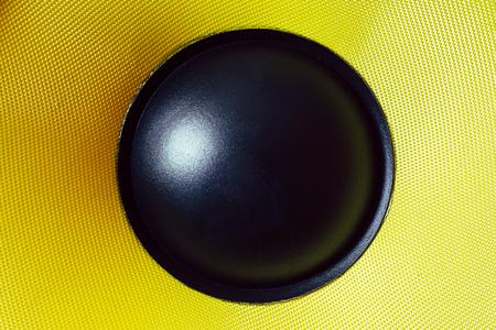 Subwoofer dynamic membrane or sound speaker, Hi-Fi loudspeaker close up macro shot Stock Photo