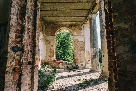 Haunted mansion, abandoned ancient building inside interior with arch windows, toned Banque d'images - 100779534