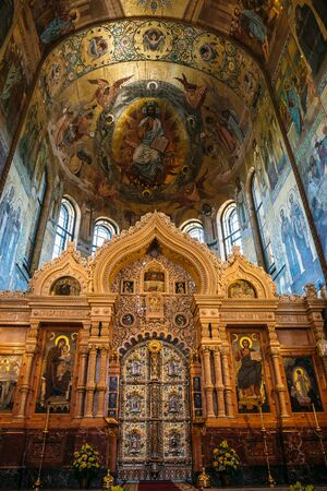 Saint Petersburg, Russia - Circa June 2017: Interior of the Church of the Saviour on Spilled Blood in St. Petersburg, Russia - famous Russian orthodox church Editorial