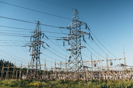 High voltage power lines and Electricity Power transformer station. Imagens