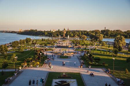 Yaroslavl, Russia - Circa August 2018 : Embankment of Volga River in Yaroslavl city. One of oldest cities and famous place of touristic route named Golden Ring of Russia