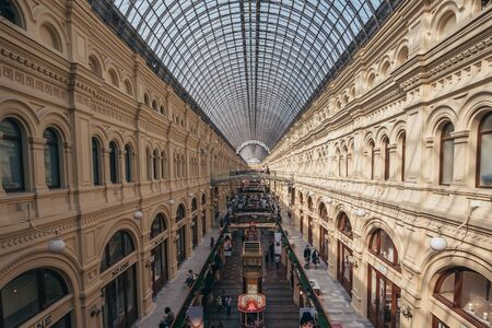 Moscow, Russia - September 2018 : Interior of GUM, Moscow Central Universal Department Store, Large Mall in center of Moscow, occupies block of China-city, facade on Red Square, architectural monument of federal significance