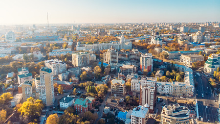 Voronezh panorama from above, aerial view from drone to European city in sunny day. Stok Fotoğraf