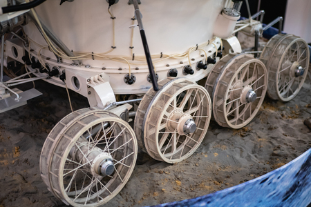 Wheels of model of old Soviet or Russian moon rover, close up